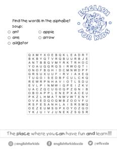Actividades Y Vocabulario De La Letra A En Inglés Para Niños